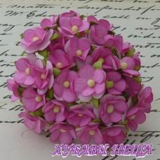 Цветя от Мълбери хартия Цветчета 15мм Розово/Бяло 10бр