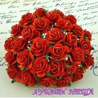 Цветя от Мълбери хартия Рози 20мм Червени- 5бр
