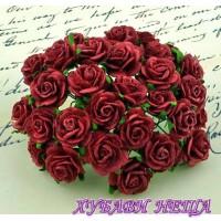 Цветя от Мълбери хартия Рози 25мм Тъмно Червени- 5бр