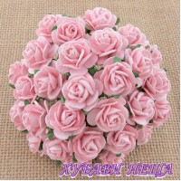 Цветя от Мълбери хартия Рози 10мм Бледо розово- 10бр