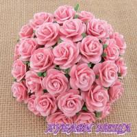 Цветя от Мълбери хартия Рози 25мм Бебешко розово- 5бр