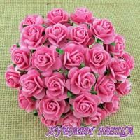 Цветя от Мълбери хартия Рози 20мм Розови- 5бр