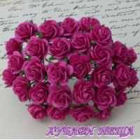 Цветя от Мълбери хартия Рози 25мм Тъмно Розово- 5бр