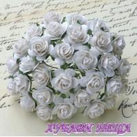 Цветя от Мълбери хартия Рози 25мм Бяло- 5бр