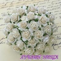 Цветя от Мълбери хартия Рози 25мм Слонова кост- 5бр