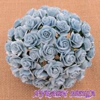 Цветя от Мълбери хартия Рози 25мм Бебешко синьо- 5бр