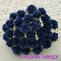 Цветя от Мълбери хартия Рози 15мм Тъмносин- 10бр
