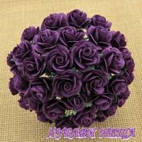 Цветя от Мълбери хартия Рози 15мм Лилав- 10бр