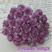 Цветя от Мълбери хартия Рози 20мм Т. Люляков- 5бр