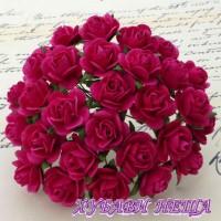 Цветя от Мълбери хартия Рози 25мм Фуксия розово- 5бр