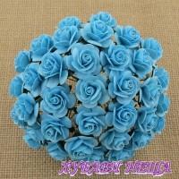 Цветя от Мълбери хартия Рози 20мм Св. тюркоаз- 5бр