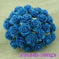 Цветя от Мълбери хартия Рози 15мм Тюркоаз- 10бр
