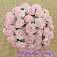 Цветя от Мълбери хартия Рози 25мм 2-тона Беб. розово/Сл. кост- 5бр