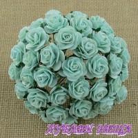 Цветя от Мълбери хартия Рози 20мм Пастелно зелен- 5бр