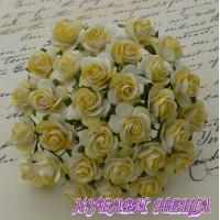 Цветя от Мълбери хартия Рози 15мм 2-Тона жълто- 10бр