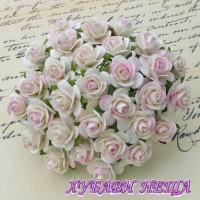 Цветя от Мълбери хартия Рози 25мм 2-тона Сл. кост/Св. розово- 5бр