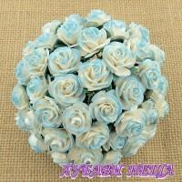 Цветя от Мълбери хартия Рози 15мм 2-тона Светъл Тюркоаз- 10бр