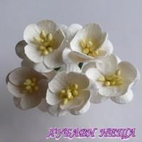 Цветя от Мълбери хартия- Черешов цвят 25мм Слонова. кост  5 бр