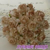 Цветя от Мълбери хартия Дива Роза 40мм 2-Тона Кафяво 5бр
