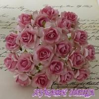 Цветя от Мълбери хартия Дива Роза 40мм 2-Тона Розово с Т. розово в центъра 5бр