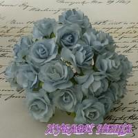 Цветя от Мълбери хартия Дива Роза 40мм Бледо синьо 5бр