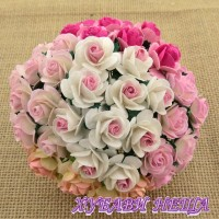 Цветя от Мълбери хартия Рози 20мм Микс 2-Тона розово- 5бр