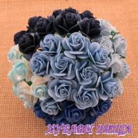 Цветя от Мълбери хартия Рози 15мм Микс синьо- 10бр