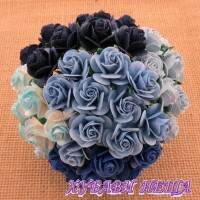 Цветя от Мълбери хартия Рози 20мм Микс синьо- 5бр