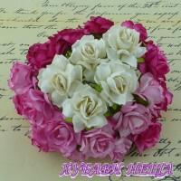 Цветя от Мълбери хартия Дива Роза 40мм Микс Розово/Бяло 5бр