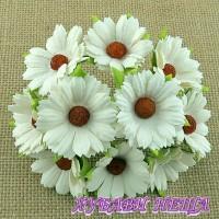 Цветя от Мълбери хартия- Хризантеми 45мм Слонова кост 5бр