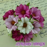 Цветя от Мълбери хартия- Хризантеми 45мм Микс Розово/Бяло 5бр