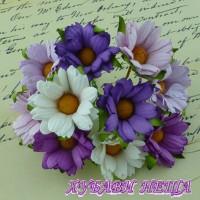Цветя от Мълбери хартия- Хризантеми 45мм Микс Пурпурен/Люляков/Бял 5бр