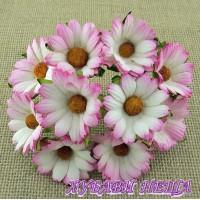 Цветя от Мълбери хартия- Хризантеми 45мм 2-Тона Розово 5бр