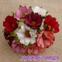 Цветя от Мълбери хартия- Хризантеми 45мм Микс Червено/Розово и Бяло 5бр