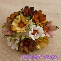 Цветя от Мълбери хартия- Хризантеми 45мм Микс Земни цветове 5бр