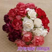 Цветя от Мълбери хартия Дива Роза 40мм Микс Червено/Бяло 5бр