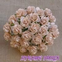 Цветя от Мълбери хартия Рози 10мм Светло прасковен- 10бр