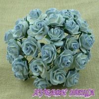 Цветя от Мълбери хартия Рози 25мм 2-тона Антично син- 5бр