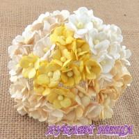 Цветя от Мълбери хартия Цветчета 15мм Микс Бяло/Крем 10бр