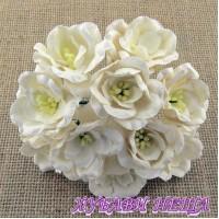 Цветя от Мълбери хартия Магнолия 35мм Бял 5 бр