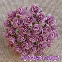 Цветя от Мълбери хартия Рози 25мм Розов- 5бр