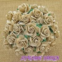 Цветя от Мълбери хартия Рози 15мм Гълъбово сив- 10бр