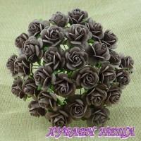 Цветя от Мълбери хартия Рози 15мм Орехов- 10бр