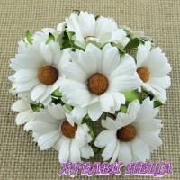 Цветя от Мълбери хартия- Хризантеми 45мм Бели 5бр