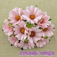Цветя от Мълбери хартия- Хризантеми 45мм Бледо розово 5бр