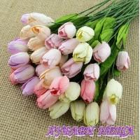 Цветя от Мълбери хартия- Лале 12мм Микс Пастелни цветове 5 бр