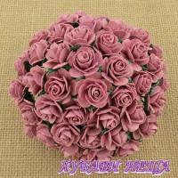 Цветя от Мълбери хартия Рози 15мм Тъмно розово- 10бр