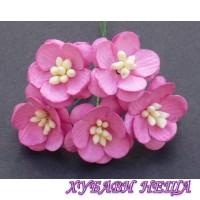 Цветя от Мълбери хартия- Черешов цвят 25мм Розов  5 бр
