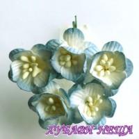 Цветя от Мълбери хартия- Черешов цвят 25мм 2-Тона Антично Син 5 бр