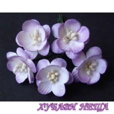 Цветя от Мълбери хартия- Черешов цвят 25мм 2-Тона Лилаво 5 бр